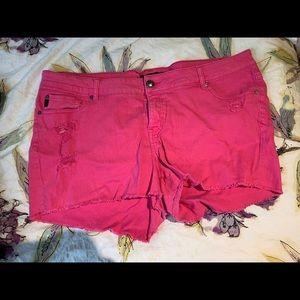 Size 22 pink jean shorts Torrid